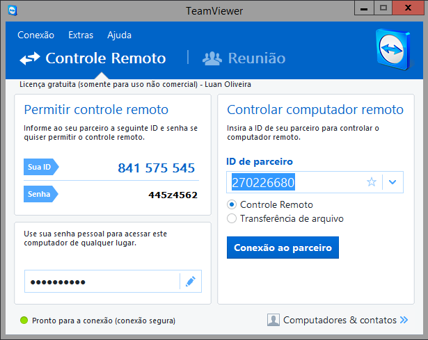 TELA DE ACESSO DO TEAM VIEWER NO HOST